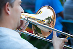 Dave Papay of Sunnyvale plays the trombone during The Terrible Adult Chamber Orchestra's (TACO) August 2 performance on the State Street Green.