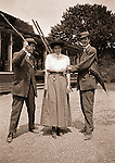North East PA:  Brady and Clark clowning around with Aunt Margaret Gray before going to dinner - 1904.  During the early 1900s, the Stewart family vacationed on Lake Erie near North East Pennsylvania. Since hotels and motels were non-existent, camping was the only viable option for a large number of vacationers