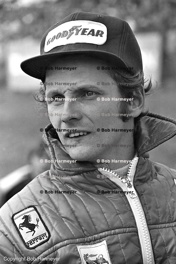 BOWMANVILLE, ON - SEPTEMBER 22, 1974: Niki Lauda looks on before the 1974 Canadian Grand Prix on September 22, 1974, at Mosport International Raceway near Bowmanville, Ontario, Canada.