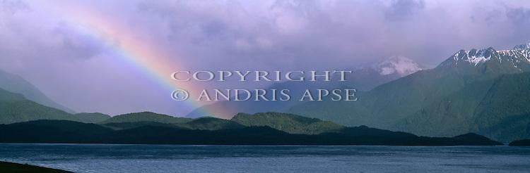 Rainbow at Lake Te Anau. Fiordland national Park New Zealand.