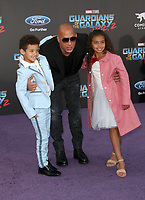"""HOLLYWOOD, CA - April 19: Vin Diesel, Hania Riley Sinclair, Vincent Sinclair, At Premiere Of Disney And Marvel's """"Guardians Of The Galaxy Vol. 2"""" At The Dolby Theatre  In California on April 19, 2017. Credit: FS/MediaPunch"""