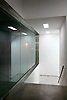 Whitecube gallery, interior, stairs, night, dark, whitegoods lighting, windows