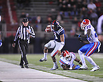 Ole Miss quarterback Randall Mackey (1) vs. Louisiana Tech's Adrien Cole (44) and Louisiana Tech's Jamel Johnson (20) in Oxford, Miss. on Saturday, November 12, 2011.