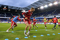 Tim Ream (5) of the New York Red Bulls warms up prior to playing FC Dallas. The New York Red Bulls defeated FC Dallas 2-1 during a Major League Soccer (MLS) match at Red Bull Arena in Harrison, NJ, on April 17, 2010.