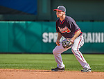 21 March 2015: Atlanta Braves infielder Corban Joseph in action during a Split Squad Spring Training game against the Washington Nationals at Champion Stadium at the ESPN Wide World of Sports Complex in Kissimmee, Florida. The Braves defeated the Nationals 5-2 in Grapefruit League play. Mandatory Credit: Ed Wolfstein Photo *** RAW (NEF) Image File Available ***
