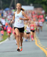 Rachel Ward leads 3500 runners and walkers during the 32nd annual Charlottesville Women's Four Miler race Saturday in Charlottesville, VA. Photo/The Daily Progress/Andrew Shurtleff