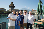 FC Luzern v St Johnstone...16.07.14  Europa League 2nd Round Qualifier<br /> Fans arrive in Lucerne...Pictured from left, Father &amp; son Thomas and Edward Knowles, Charlie Murray, Graeme McGregor and Andy Graham, with the Kapell-Brucke bridge behind them<br /> Picture by Graeme Hart.<br /> Copyright Perthshire Picture Agency<br /> Tel: 01738 623350  Mobile: 07990 594431