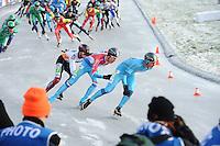 SCHAATSEN: NOORDLAREN: 18-01-2017, IJsvereniging De Hondsrug, de eerste marathon op natuurijs van 2017, Daan Besteman (#67), Jorrit Bergsma (#13), Simon Schouten (#38), ©foto Martin de Jong