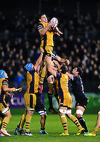 Ian Evans of Bristol Rugby wins the ball at a lineout. European Rugby Challenge Cup match, between Bath Rugby and Bristol Rugby on October 20, 2016 at the Recreation Ground in Bath, England. Photo by: Patrick Khachfe / Onside Images