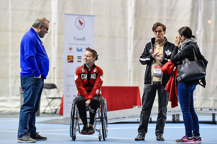 MONTREAL, QC - APRIL 29:  Maxime Gagnon, Cindy Ouellet and Marc-Andre Fabien speak during the 2017 Montreal Paralympian Search at Complexe sportif Claude-Robillard. Photo: Minas Panagiotakis/Canadian Paralympic Committee
