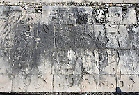 Detail of Ball players on the panels decorating the platform supporting the wall of the Game of Ball, 900-1100 AD, Toltec Architecture, Chichen Itza, Yucatan, Mexico. Picture by Manuel Cohen