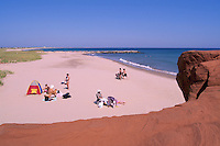 Ile du Havre-aux-Maisons, Iles de la Madeleine, Quebec, Canada - Families sunbathing on Beach at Dune du Sud along Gulf of St. Lawrence - (South Dune, House Harbour Island, Magdalen Islands)