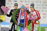 SCHAATSEN: HEERENVEEN: 01-01-2017, NK Marathonschaatsen, Janneke Ensing, Irene Schouten, Lisa van der Geest, ©foto Martin de Jong
