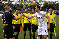 Captains Bill Robertson and Angel Berlanga shake hands before kickoff in the Oceania Football Championship final (second leg) football match between Team Wellington and Auckland City FC at David Farrington Park in Wellington, New Zealand on Sunday, 7 May 2017. Photo: Dave Lintott / lintottphoto.co.nz