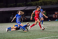 Boston, MA - Friday May 19, 2017: Nadia Nadim score her second goal of the game in the 83rd minute during a regular season National Women's Soccer League (NWSL) match between the Boston Breakers and the Portland Thorns FC at Jordan Field.