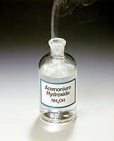 AMMONIUM CHLORIDE FOG FORMATION<br /> Open Bottle of Ammonium Hydroxide (NH3OH)<br /> The stopper of a reagent bottle  of Ammonium Hydroxide (NH3OH) is removed. The reaction between gaseous Ammonia (NH3) escaping from the aqueous solution &amp; Chlorine ions in the vicinity  forms a white fog of solid NH4Cl. Bronsted-Lowry acids and bases