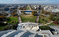 The Presidential Inauguration Stand is seen under construction in the foreground in this view looking west from the top of the newly-restored US Capitol Dome at the US Capitol in Washington, DC, November 15, 2016.  <br /> Credit: Olivier Douliery / Pool via CNP /MediaPunch