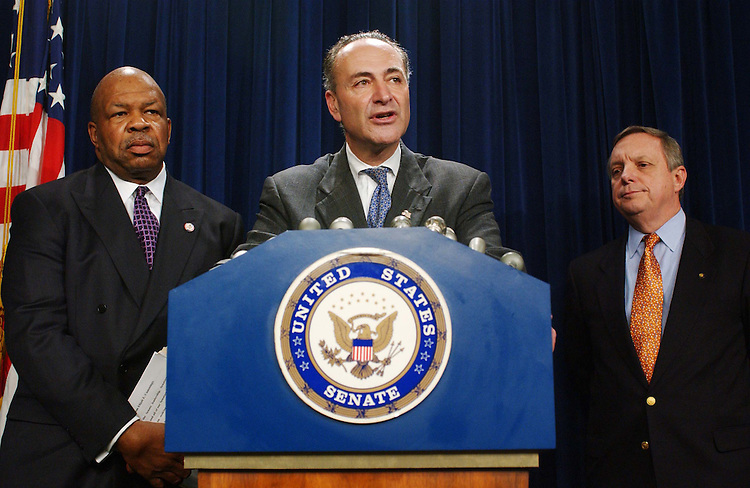 10/30/03.PICKERING CLOTURE VOTE--House Congressional Black Caucus Chairman Elijah E. Cummings, D-Md., Sen. Charles E. Schumer, D-N.Y., and Sen. Richard J. Durbin, D-Ill., during a news conference after a cloture vote failed to end a Democrat-led filibuster of the nomination of Charles W. Pickering Sr. to the 5th U.S. Circuit Court of Appeals, adding the Mississippi jurist to a growing list of President Bush's judicial nominees blocked by filibusters..CONGRESSIONAL QUARTERLY PHOTO BY SCOTT J. FERRELL