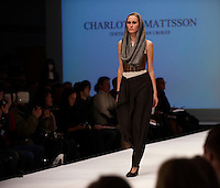 Model on the catwalk wearing creation by Charlotta Mattsson (Textillhogskolan i Boras). &quot;Designers Nest Show and Award&quot; at the fashion fair &quot;CPH Vision&quot; in Oksnehallen. Copenhagen Fashion Week.<br /> February 2009.<br /> Only for editorial use.