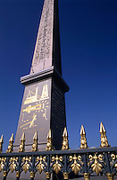The Egyptian Obelisk in the Place de la Concorde, Paris, France.