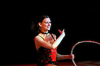 """Tamara Yerofeeva of Ukraine smiles after finishing gala exhibition at 2007 World Cup Kiev, """"Deriugina Cup"""" in Kiev, Ukraine on March 16, 2007. After great career competing for Ukraine, Tamara performed for Cirque du Soleil for 2-years from 2004-2006."""