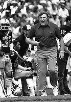 Oakland Raider coach John Madden prowls the sideline during 1970 game. (photo by Ron Riesterer)