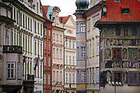 BAROUQUE houses line OLD TOWN SQUARE in the historic city of PRAGUE (PRAHA) - CZECH REPUBLIC