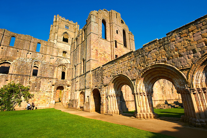 Cloisters of Fountains Abbey , founded in 1132, is one of the largest and best preserved ruined Cistercian monasteries in England. The ruined monastery is a focal point of England's most important 18th century Water, the Studley Royal Water Garden which is a UNESCO World Heritage Site. Near Ripon, North Yorkshire, England