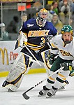 16 February 2008: Merrimack College Warriors' goaltender Andrew Braithwaite, a Sophomore from Kingston, Ontario, in action against the University of Vermont Catamounts at Gutterson Fieldhouse in Burlington, Vermont. The Catamounts defeated the Warriors 2-1 for their second win of the 2-game weekend series...Mandatory Photo Credit: Ed Wolfstein Photo