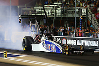 Jun 17, 2016; Bristol, TN, USA; NHRA top fuel driver Terry Haddock during qualifying for the Thunder Valley Nationals at Bristol Dragway. Mandatory Credit: Mark J. Rebilas-USA TODAY Sports