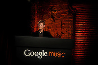 Los Angeles, California, November 16, 2011 – Michael Siliski, a Senior Product Manager for Google during the release of Google Music. ..In an attempt to take on rival Apple and it's mega music platform iTunes, Google launched its music service – Google Music – today at Mr. Brainwash's Studio in Los Angeles. The service update integrates a music section into Google's Android Market, Google's media hub for Android devices. Users can now purchase songs through the Android market, and can stream them wirelessly to their Android phones and tablets using the Google Music app. In a tie-in to another of Google's flagship products, the company is integrating the music store into its newly launched social network, Google Plus. In order to entice new adopters, the company will launch a series of Google Music-exclusive tracks, including live sets from the Rolling Stones, Coldplay and Busta Rhymes, who was in the audience.