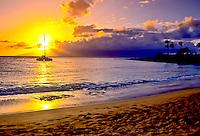 Sunset over the island of Moloka'i, as seen from Kapalua Bay, Maui.