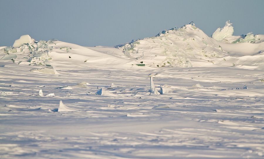 Fragments of ice jut out from the frozen Great Slave Lake in Northwest Territories, Canada.