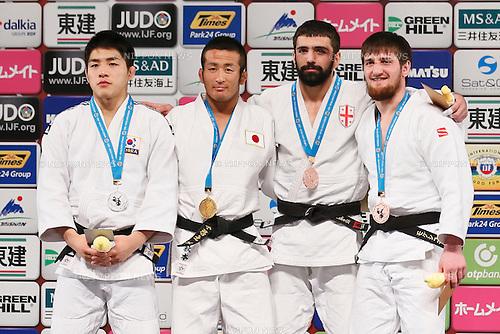 (L-R) An Changrin (KOR), Hiroyuki Akimoto (JPN), Nugzari Tatalashvili (GEO), Musa Mogushkov (RUS), DECEMBER 5, 2015 - Judo : IJF Grand Slam Tokyo 2015 International Judo Tournament Men's -73kg Award Ceremony at Tokyo Metropolitan Gymnasium, Tokyo, Japan. (Photo by Sho Tamura/AFLO SPORT)