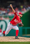 26 April 2014: Washington Nationals pitcher Tanner Roark on the mound against the San Diego Padres at Nationals Park in Washington, DC. Roark pitched his first complete MLB game, a 3-hit shutout, as the Nationals defeated the Padres 4-0 to take the third game of their 4-game series. Mandatory Credit: Ed Wolfstein Photo *** RAW (NEF) Image File Available ***