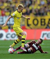 FUSSBALL   1. BUNDESLIGA  SAISON 2012/2013   2. Spieltag 1. FC Nuernberg - Borussia Dortmund       01.09.2012 Marco Reuss (li, Borussia Dortmund) gegen Robert Mak (1 FC Nuernberg)
