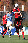 14 November 2010: Maryland's John Stertzer (27) and UNC's Enzo Martinez (16). The University of Maryland Terrapins defeated the University of North Carolina Tar Heels 1-0 at WakeMed Soccer Park in Cary, North Carolina in the ACC Men's Soccer Tournament Championship game.