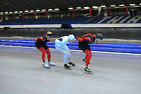 SCHAATSEN: HEERENVEEN: 26-06-2014, IJsstadion Thialf, Zomerijs training, v.l.n.r. Koen Verweij, Bart Swings, Christijn groeneveld, ©foto Martin de Jong