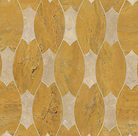Lana, a stone water jet mosaic, shown in Travertine Noce and Persian Gold, is part of the Ann Sacks Beau Monde collection sold exclusively at www.annsacks.com