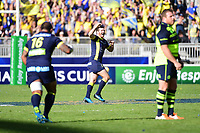 Joy for Camille Lopez of Clermont as he kicks a second drop goal during the European Champions Cup semi final match between AS Clermont and Leinster on April 23, 2017 in Clermont-Ferrand, France. (Photo by Dave Winter/Icon Sport)