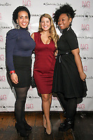 Katrena D. Moore, Marcy Clark, and Shauntele, pose during the EngieStyle one year anniversary, &quot;A Tale of the Black Dress&quot;, fashion presentation.