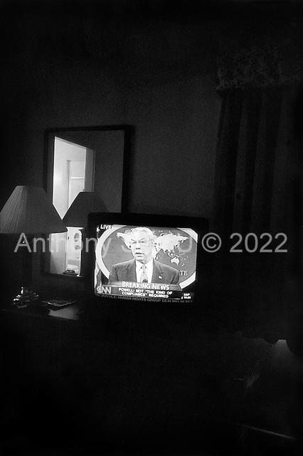 Santa Maria, California.USA.March 17, 2003..US Secretary of State Colin Powel announces the end of diplomacy on the Iraqi crisis.
