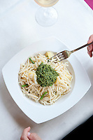 Trofie al Pesto served at L' Articiocca restaurant, Levanto, Liguria, Italy