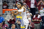 DALLAS, TX - APRIL 2:  A'ja Wilson #22 of the South Carolina Gamecocks cuts down part of the net following their victory over Mississippi State during the 2017 Women's Final Four at American Airlines Center on April 2, 2017 in Dallas, Texas. (Photo by Evert Nelson/NCAA Photos via Getty Images)