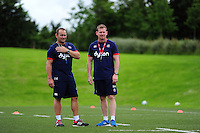 Bath Rugby coaches Darren Edwards and Barry Maddocks look on. Bath Rugby pre-season skills training on June 21, 2016 at Farleigh House in Bath, England. Photo by: Patrick Khachfe / Onside Images