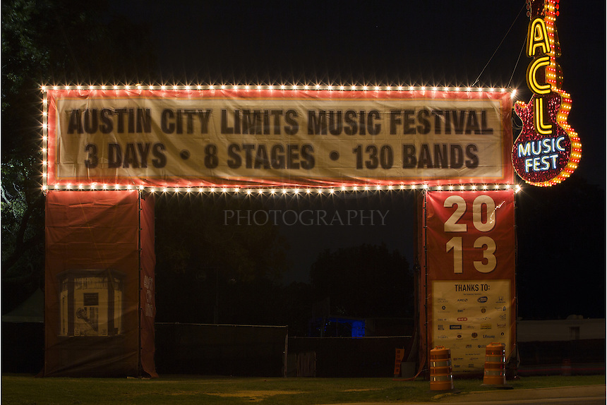 ACL (Austin City Limits) is an annual affair and an Austin fixture. This Austin image shows the entrance to the music festival, held every year on the grounds of Zilker Park. ACL has become an Austin icon and draws hundreds of thousands of visitors each year. The concerts take place on the 46-acre area of Zilker Park under the shadow of the Austin skyline.