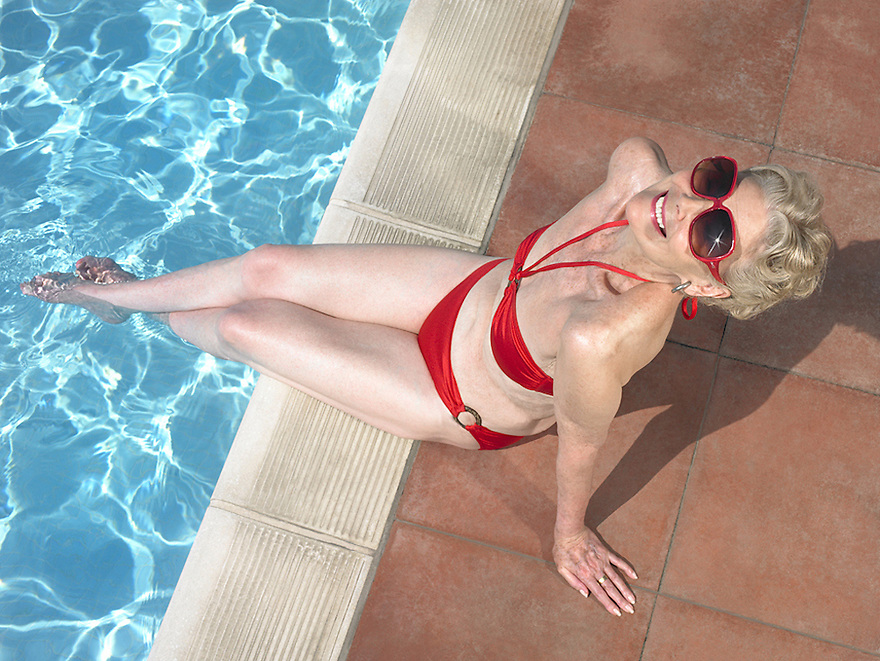 Glamorous Granny by the poolside<br />