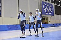 SPEED SKATING: SALT LAKE CITY: 18-11-2015, Utah Olympic Oval, ISU World Cup, training, Jan Blokhuijsen (NED), Bart Swings (BEL), Mathias Vosté (BEL), ©foto Martin de Jong
