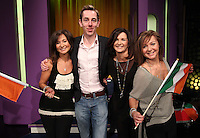 10/02/'11 Ryan Tubridy pictured this afternoon at RTE Studios with The Vard Sisters, one of the five acts which make up this years hopefulls for Ireland's entry to the Eurosong 2011 Contest. The five acts will perform on tomorrow night's Late Late show ..Picture Colin Keegan, Collins, Dublin.