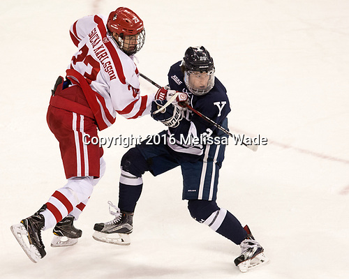 Jakob Forsbacka Karlsson (BU - 23), Ryan Hitchcock (Yale - 28) The Boston University Terriers defeated the visiting Yale University Bulldogs 5-2 on Tuesday, December 13, 2016, at the Agganis Arena in Boston, Massachusetts.